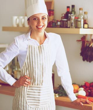 Mujer chef retencion líquidos
